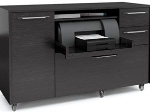 BDI Format Mobile Credenza, Black Stained Oak 6320