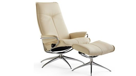 Ekornes Stressless City High Back Recliner & Ottoman