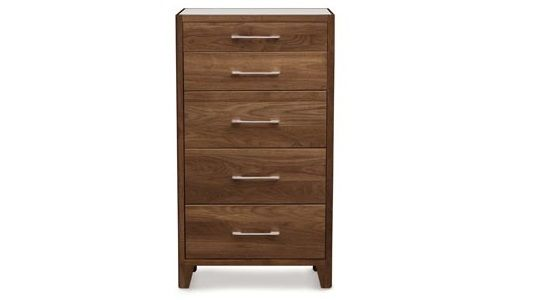 Copeland Contour 5-Drawer Chest Glass Top