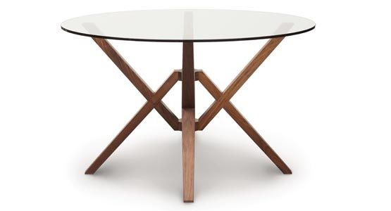 Copeland Exeter Round Glass Top Dining Table Walnut