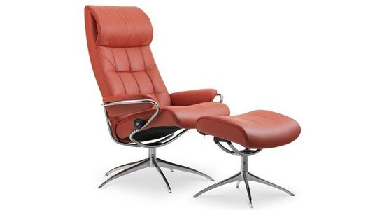 Ekornes Stressless London High Back Recliner & Ottoman