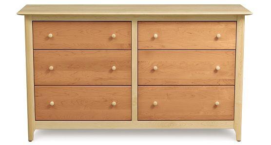 Copeland Sarah 6 Drawer Dresser in Maple/Cherry