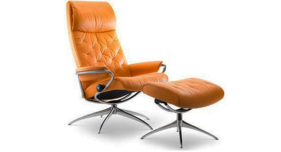 Ekornes Stressless Metro High Back Recliner & Ottoman